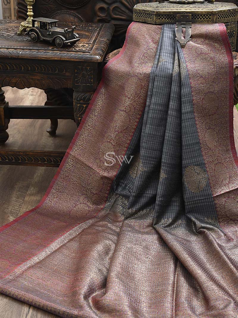 Grey Dupion Silk Handloom Banarasi Saree - Sacred Weaves