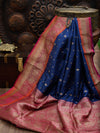 Navy Blue Anrique Zari Contrast Broad Border Pure Katan Silk Banarasi Saree - Sacred Weaves