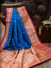 Royal Blue Contrast Broad Border Pure Katan Silk Banarasi Saree - Sacred Weaves