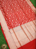 Red Color Floral Gold Zari Uppada Pure Katan Silk Banarasi Saree - Sacred Weaves