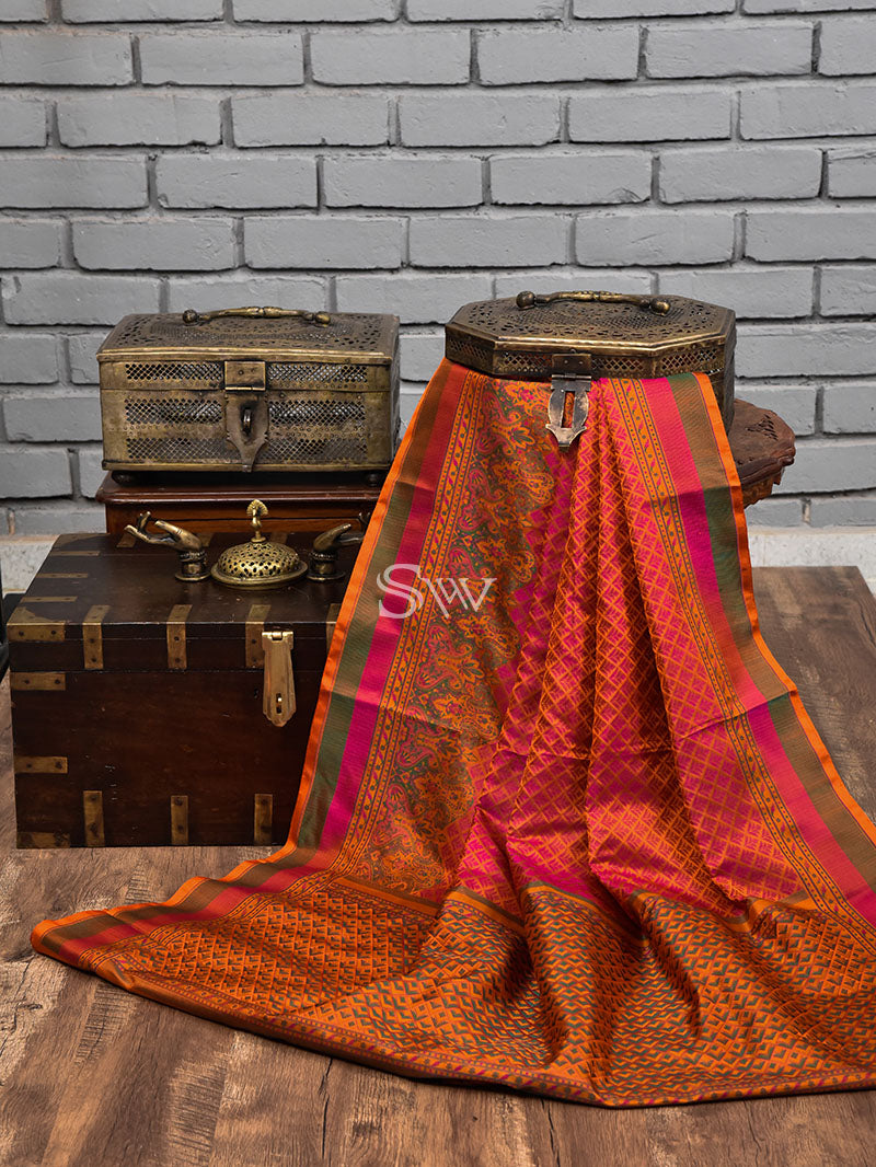 Orange-Pink Tanchoi Silk Handloom Banarasi Saree - sACRED wEAVES