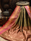 Dark Green Gold Zari Jaal Brocade Pure Katan Silk Banarasi Saree - Sacred Weaves