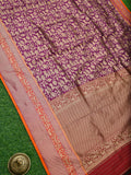 Purple Shikargah Gold Zari Jaal Brocade Pure Katan Silk Banarasi Saree - Sacred Weaves