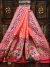 Orange Pink Dual Color Paithani Design Pure Katan Silk Banarasi Saree - Sacred Weaves