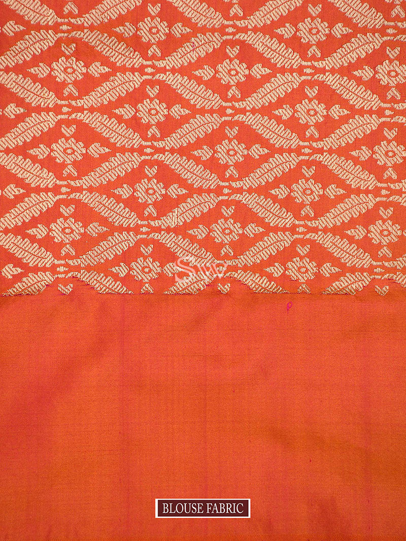 Orange Pink Katan Silk Handloom Banarasi Saree - Sacred Weaves