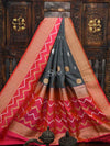 Grey Katan Silk Banarasi Handloom Saree-Sacred Weaves