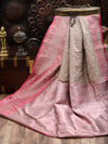 Dusty Pink Shikargah Border Pure Katan Silk Banarasi Saree - Sacred Weaves