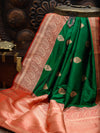 Green Color Gold Zari Boota Pure Katan Silk Banarasi Saree - Sacred Weaves