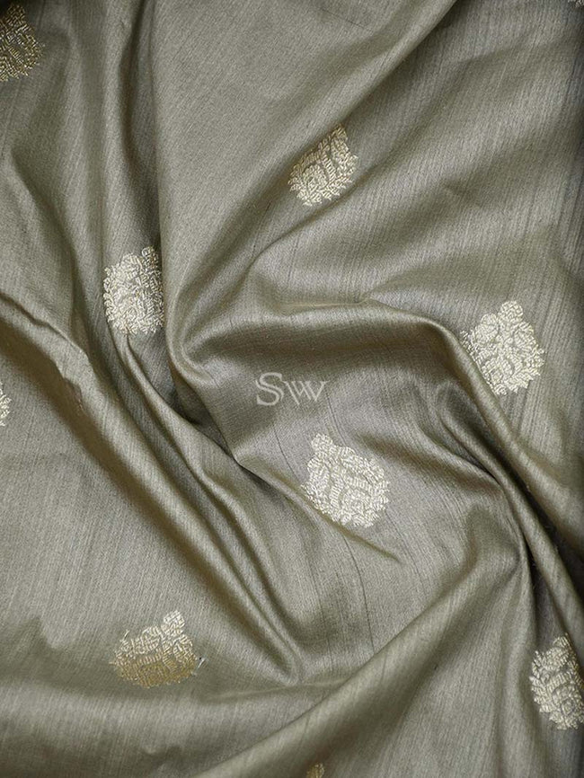 Brownish Grey Gold Zari Booti Pure Tussar Silk Banarasi Saree - Sacred Weaves