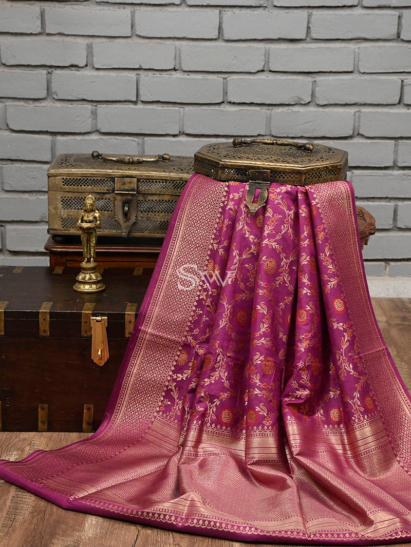 Dark Magenta Moonga Tussar Silk Handloom Banarasi Saree - Sacred Weaves