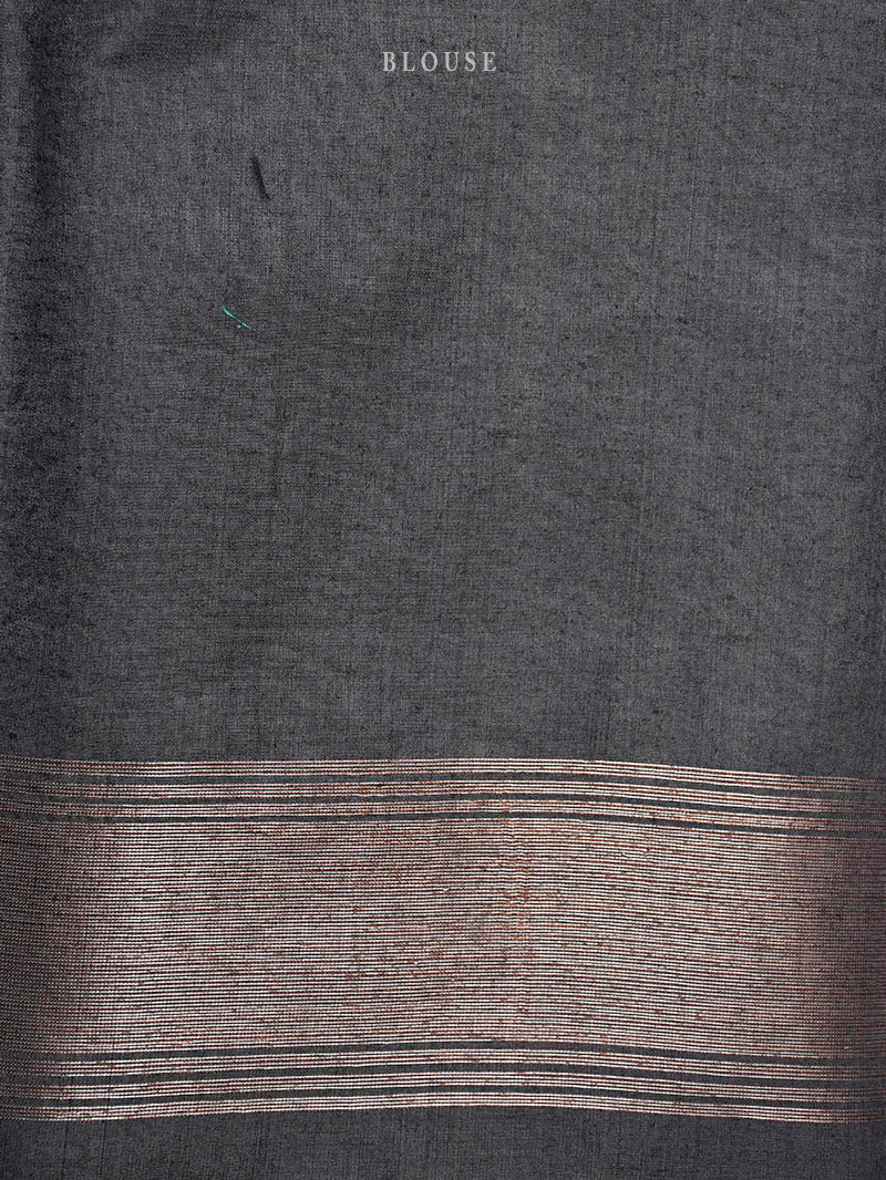 Black Moonga Tussar Silk Handloom Banarasi Saree - Sacred Weaves