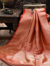 Pink Orange Katan Silk Brocade Banarasi Handloom Saree - Sacred Weaves