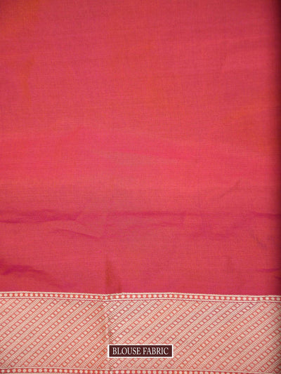 Orange-Pink Dual Color Gold Zari Uppada Pure Katan Silk Banarasi Saree - Sacred Weaves