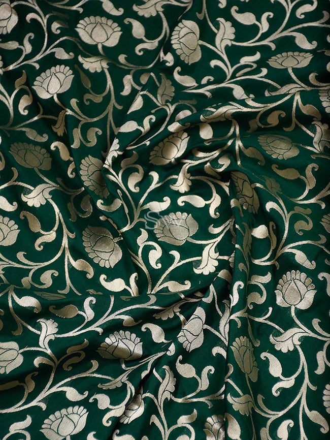 Dark Green Color Gold Zari Jaal Uppada Pure Katan Silk Banarasi Saree - Sacred Weaves