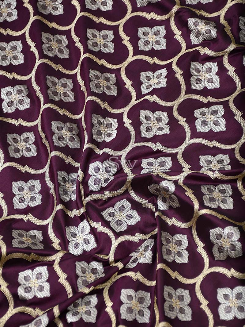 Wine Katan Silk Handloom Banarasi Saree - Sacred Weaves