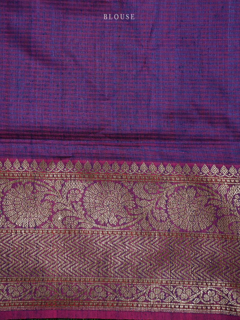Blue Green Dupion Silk Leheriya Handloom Banarasi Saree - Sacred Weaves
