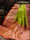 Light Green Gold Zari Konia Pure Katan Silk Banarasi Saree - Sacred Weaves
