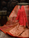 Pink-Orange Dual Gold Zari Konia Pure Katan Silk Banarasi Saree - Sacred Weaves