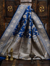 Blue Color Floral Gold Zari Jaal Pure Katan Silk Banarasi Saree-Sacred Weaves