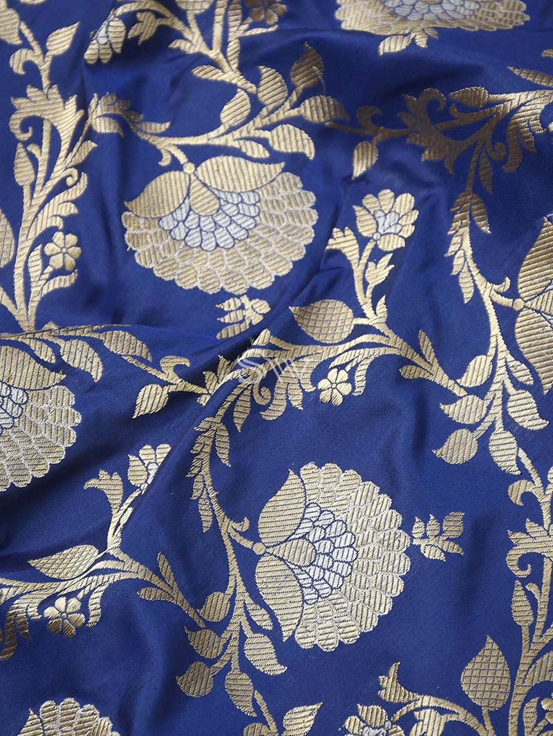 Blue Katan Silk Handloom Banarasi Saree - Sacred Weaves