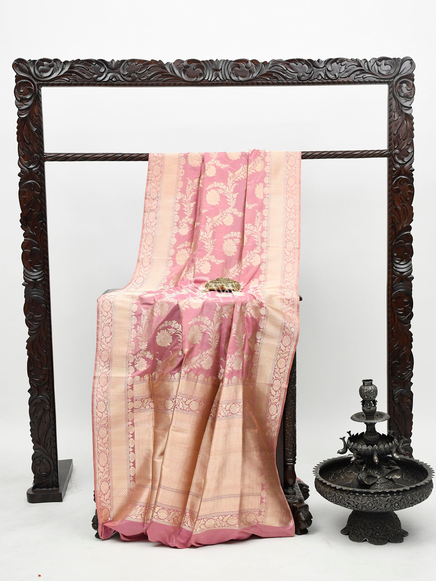 Onion Pink Katan Silk Handloom Banarasi Saree -Sacred Weaves