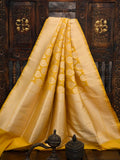 Yellow Katan Silk Uppada Banarasi Handloom Saree  - Sacred Weaves
