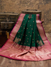 Bottle Green Katan Silk Banarasi Handloom Saree - Sacred Weaves
