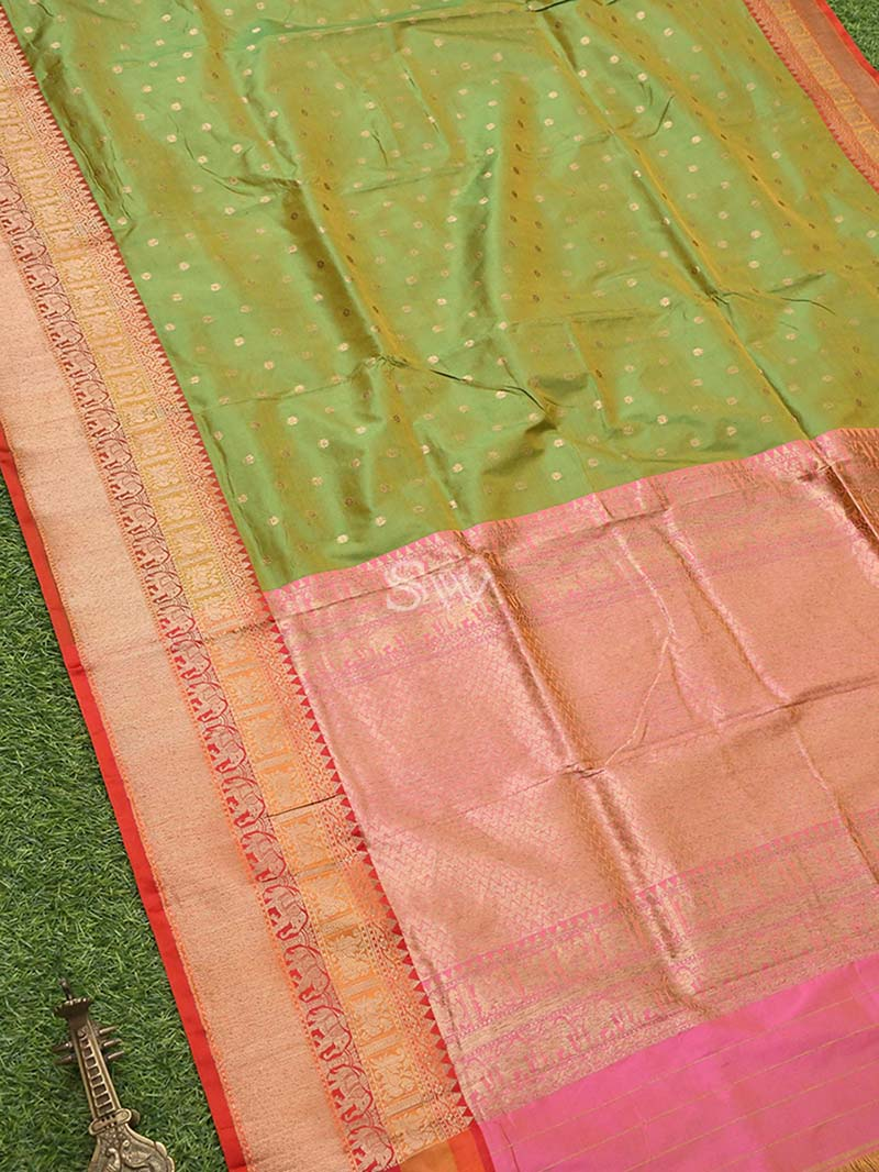 Pista Green Katan Silk Handloom Banarasi Saree - Sacred Weaves