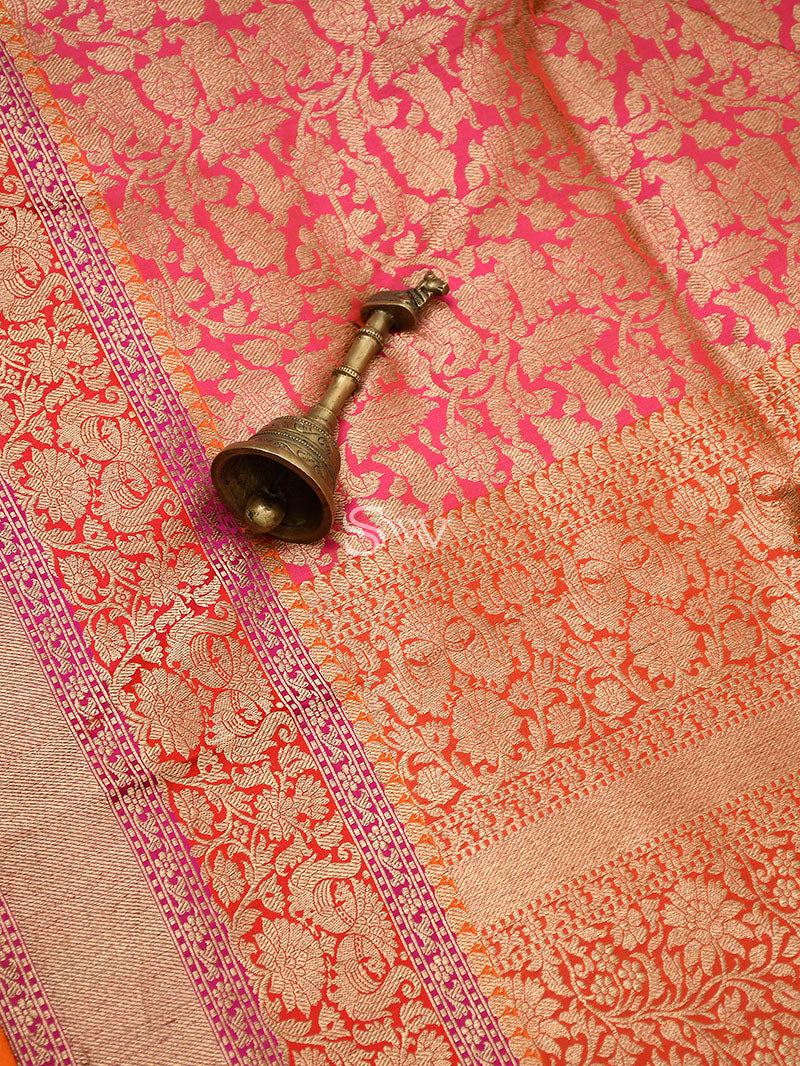 Pink-Orange Katan Silk Shikargah Handloom Banarasi Saree - Sacred Weaves