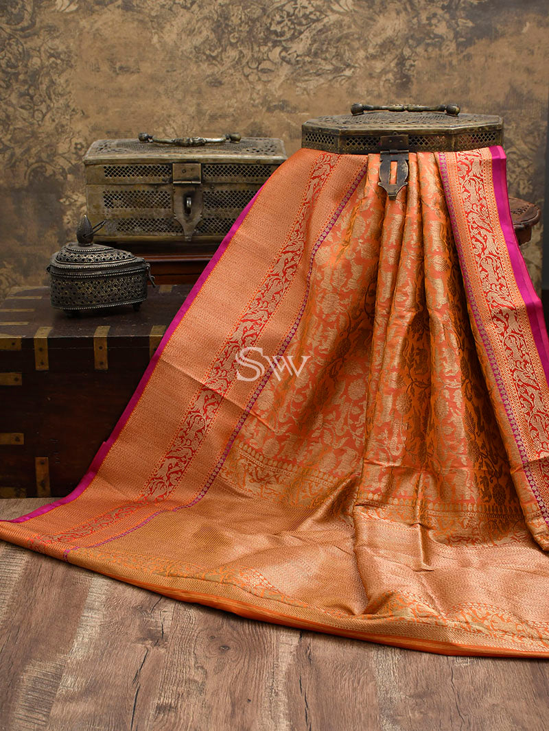 Peach-Orange Katan Silk Shikargah Handloom Banarasi Saree - Sacred Weaves