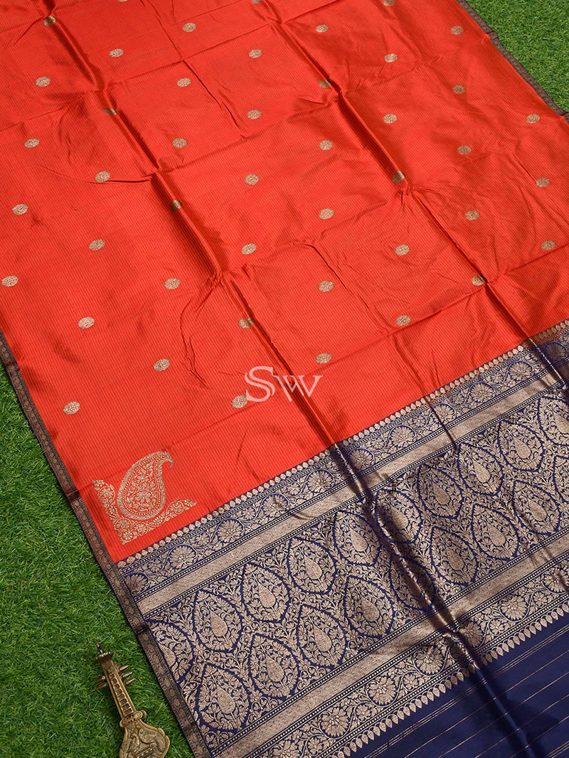 Red Stripe Katan Silk Handloom Banarasi Saree - Sacred Weaves