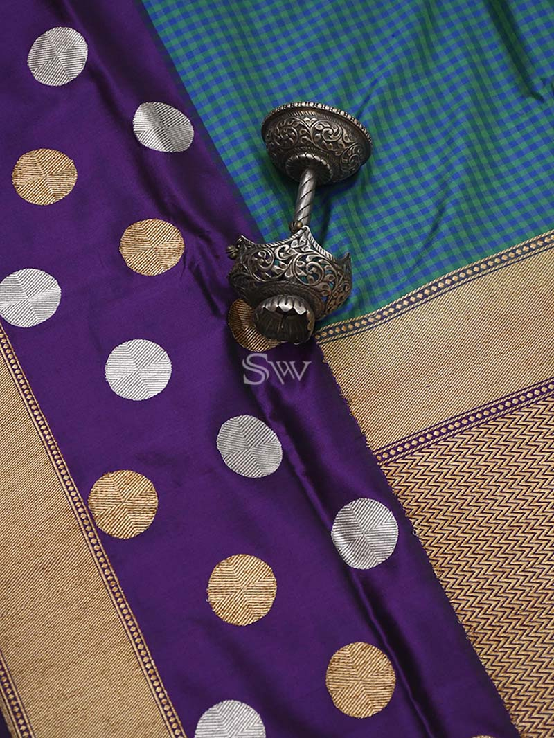 Green-Purple Katan Silk Handloom Banarasi Saree - Sacred Weaves