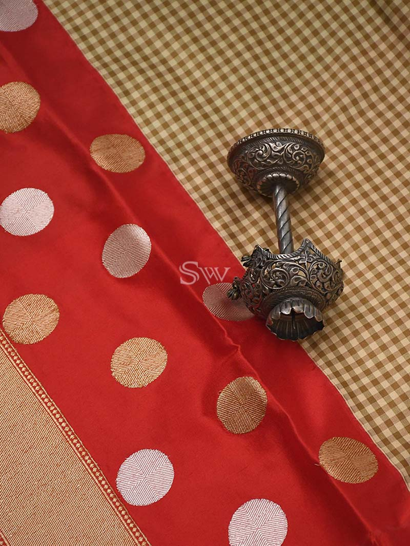 Beige-Red Katan Silk Handloom Banarasi Saree - Sacred Weaves
