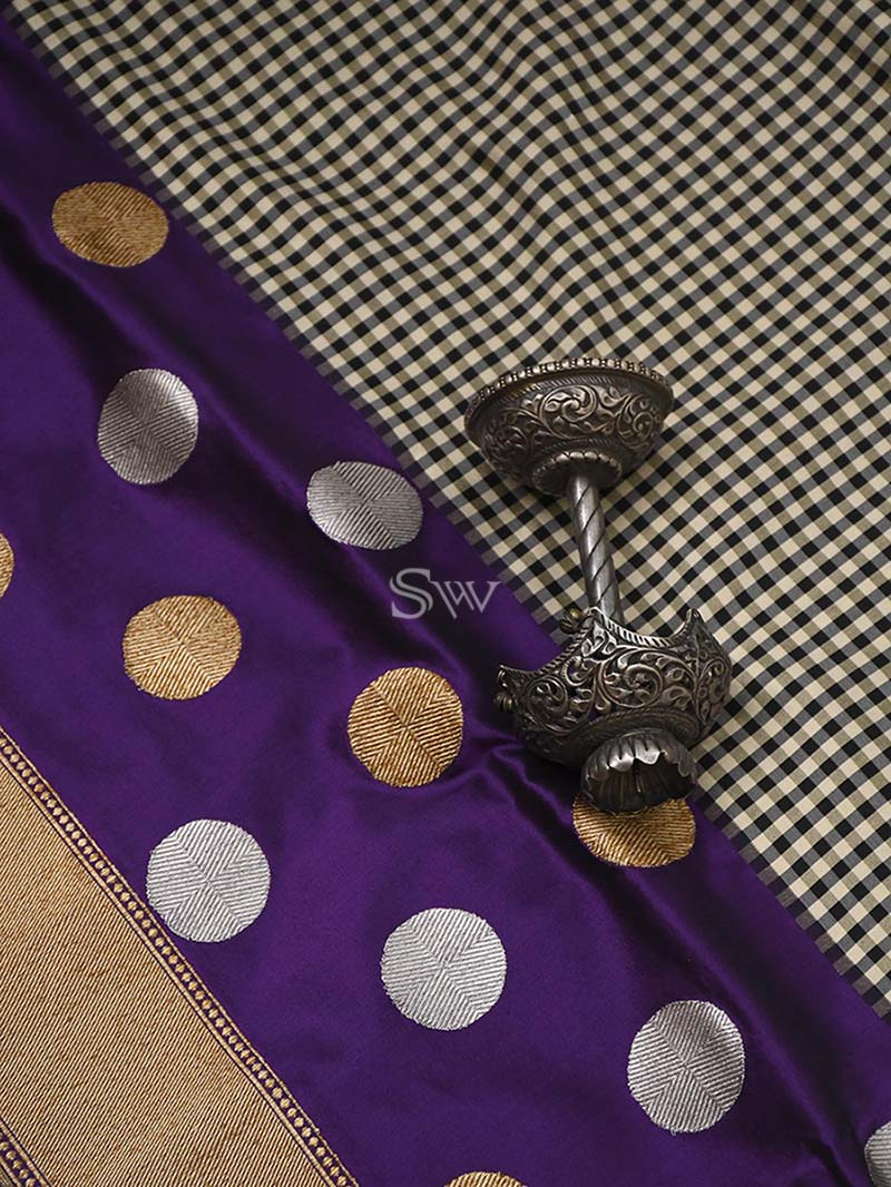 Beige-Purple Katan Silk Handloom Banarasi Saree - Sacred Weaves