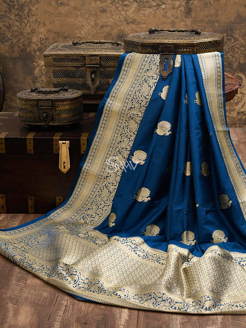 Midnight-Blue Katan Silk Handloom Banarasi Saree - Sacred Weaves