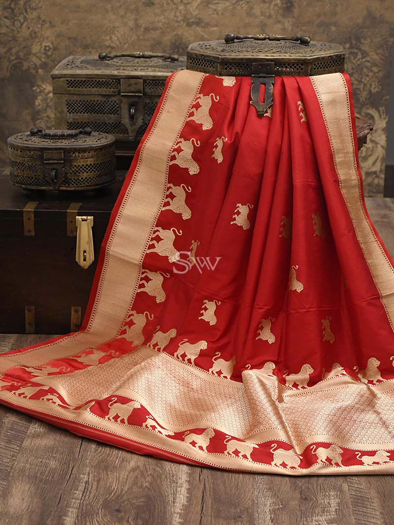 Red Katan Silk Handloom Banarasi Saree - Sacred Weaves