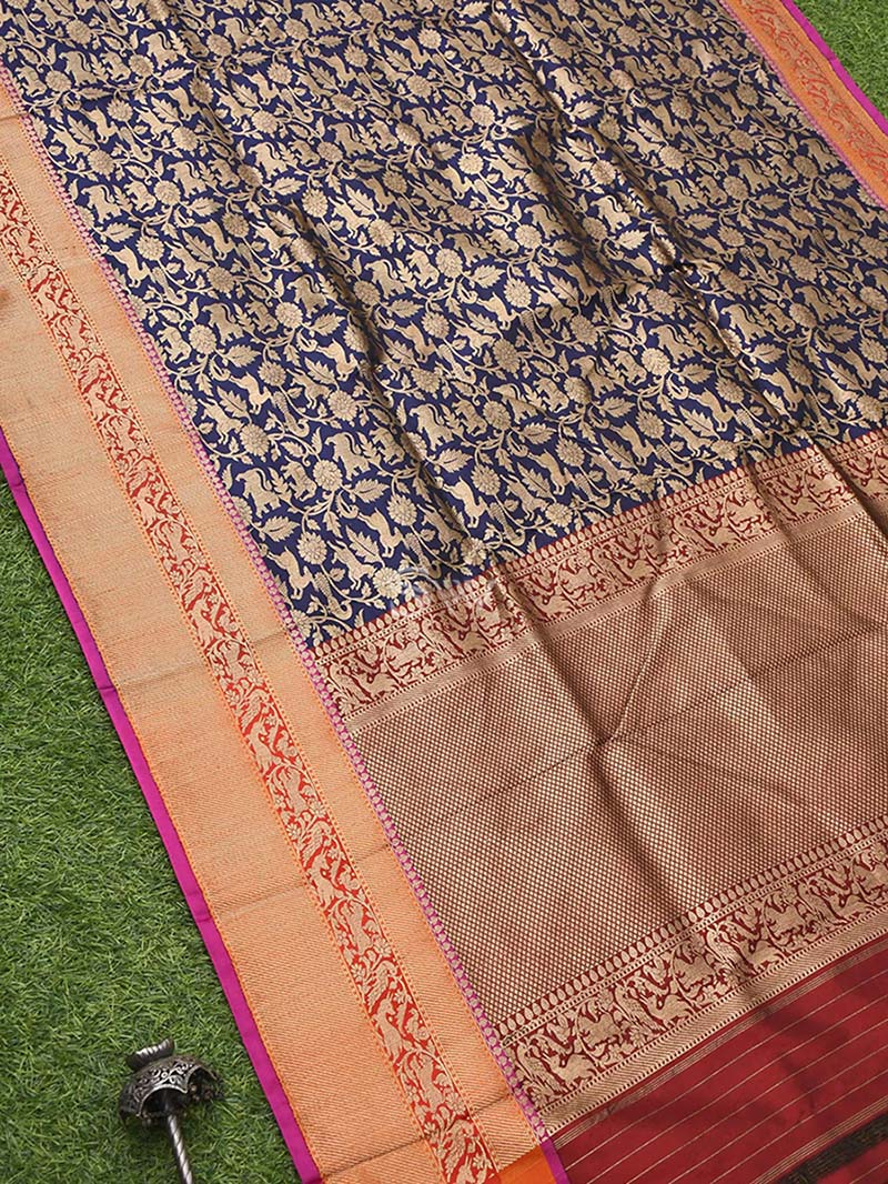 Navy Blue Katan Silk Brocade Handloom Banarasi Saree - Sacred Weaves