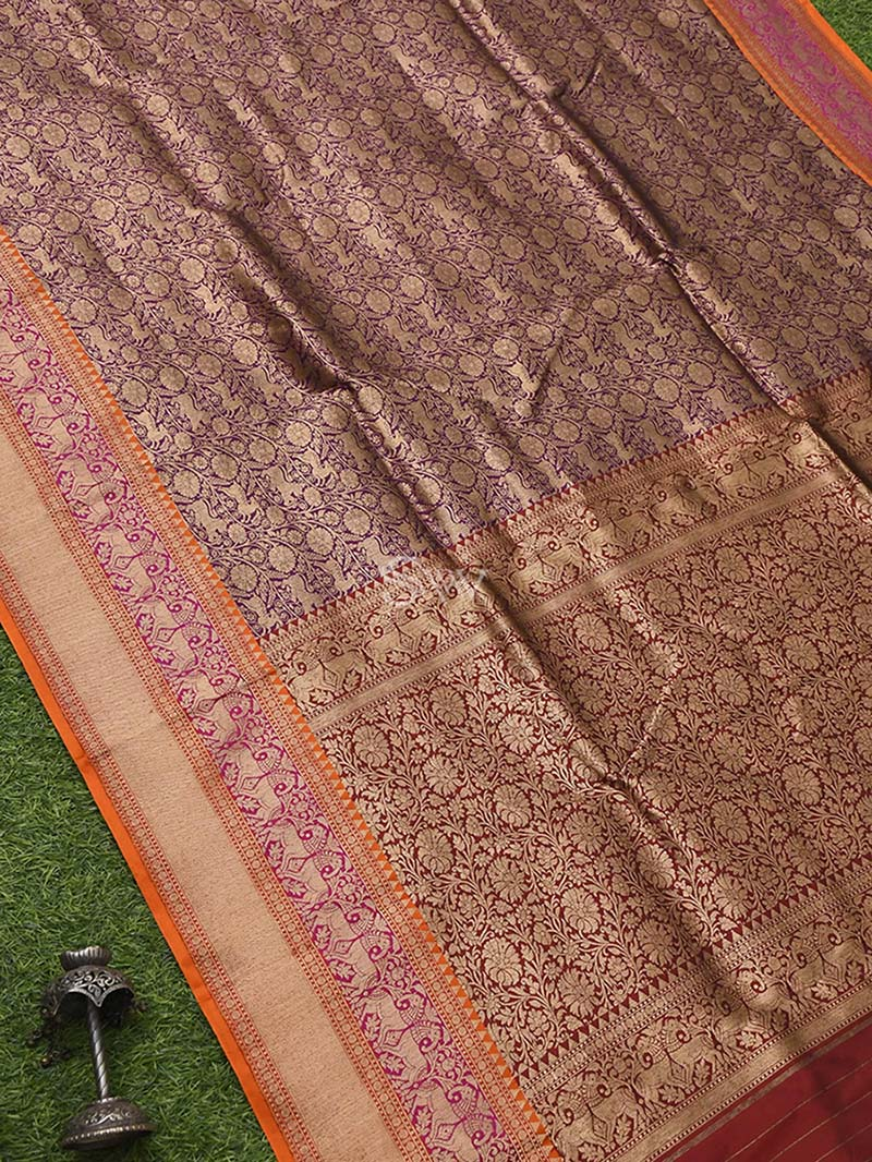Purple Katan Silk Brocade Handloom Banarasi Saree - Sacred Weaves