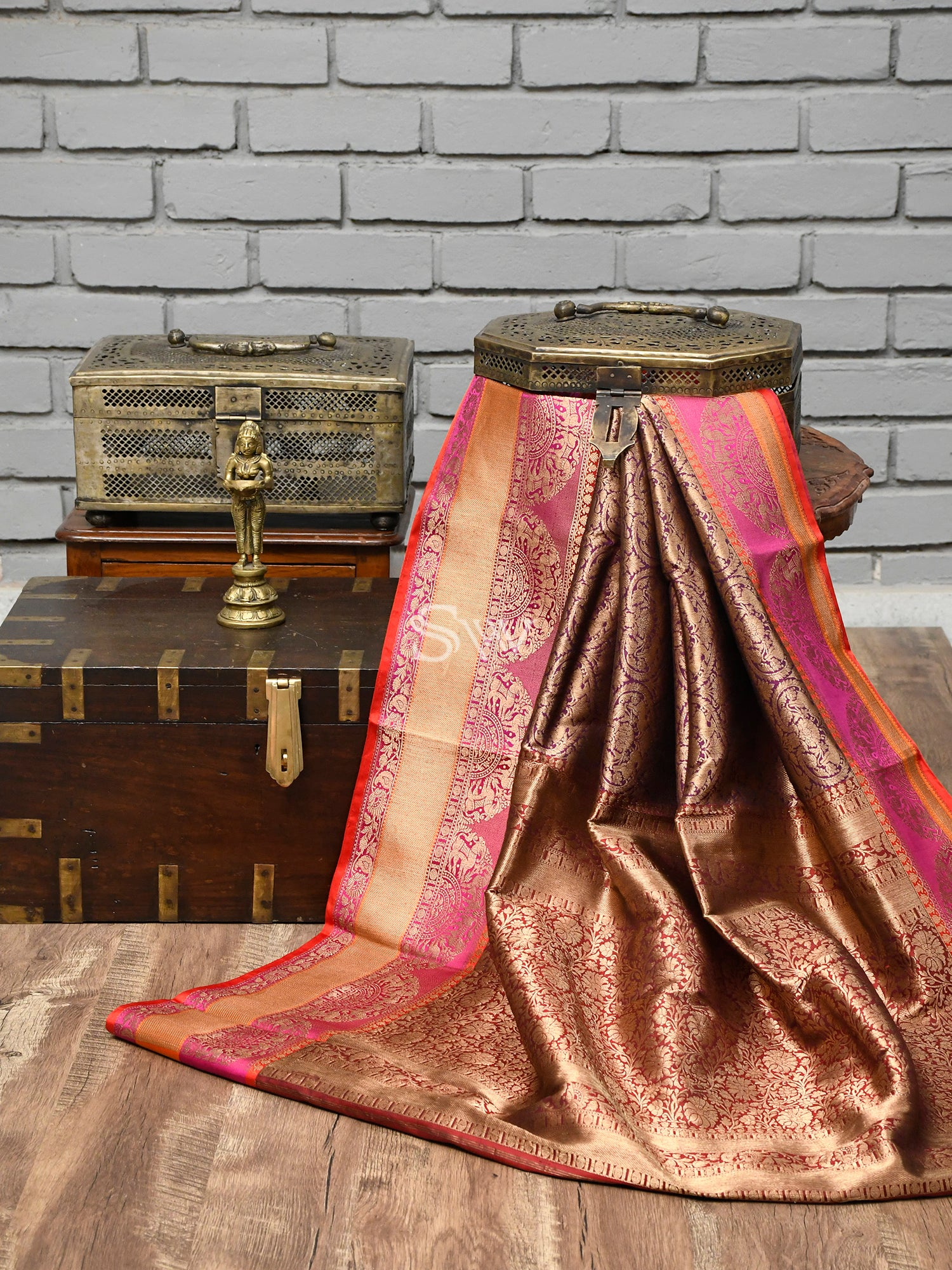 Purple Katan Silk Shikargah Handloom Banarasi Saree - Sacred Weaves