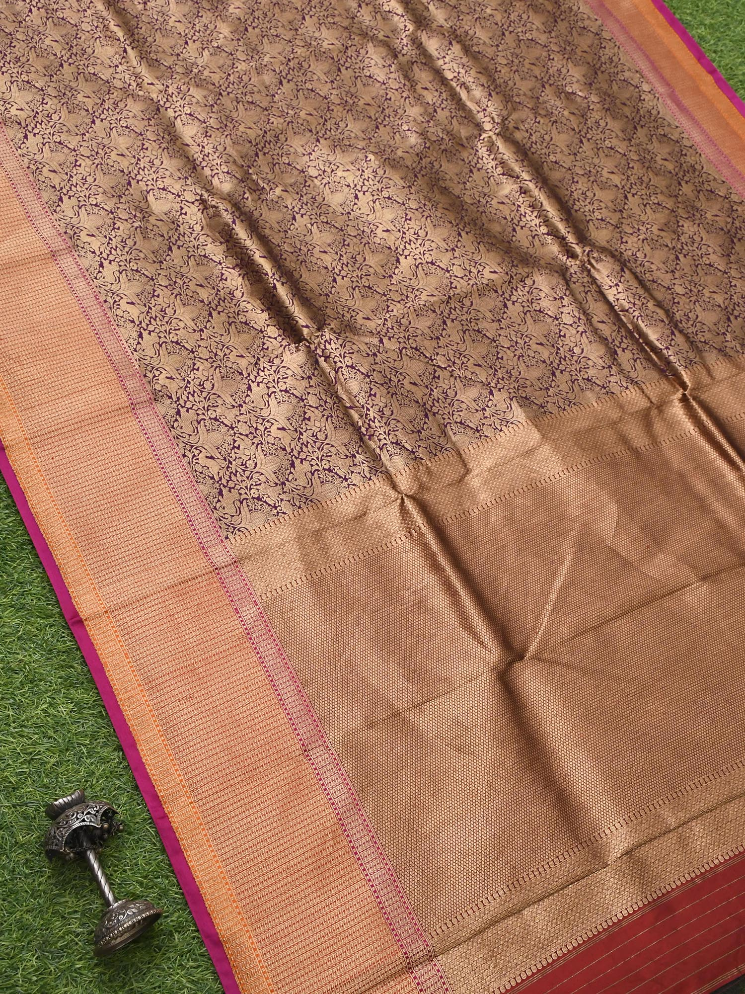 Purple Katan Silk Brocade Banarasi Handloom Saree - Sacred Weaves