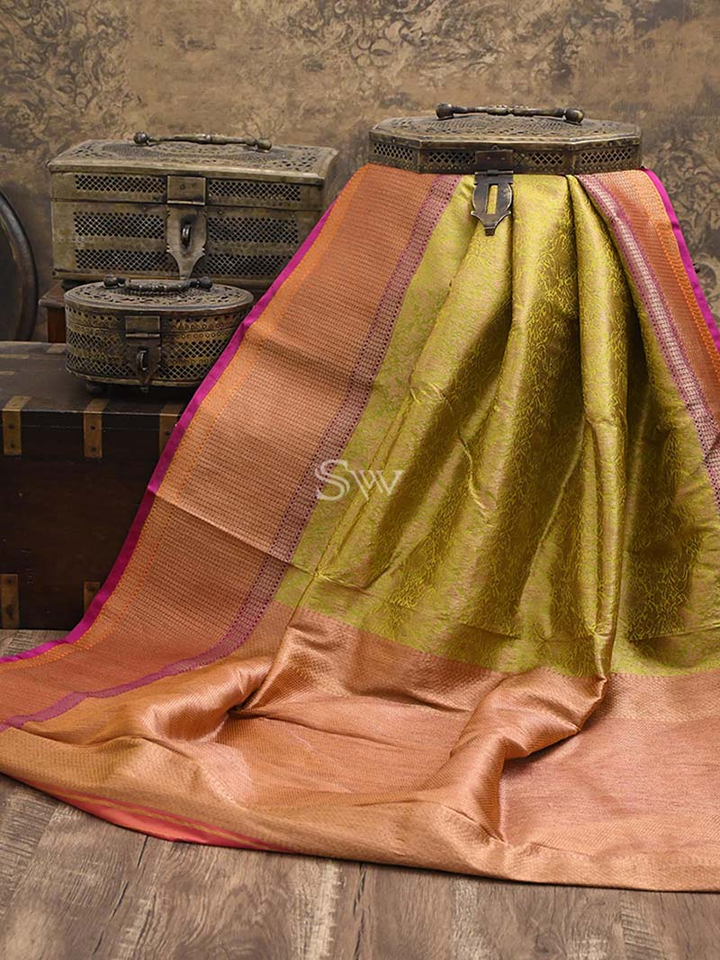 Pista Green Katan Silk Brocade Handloom Banarasi Saree - Sacred Weaves
