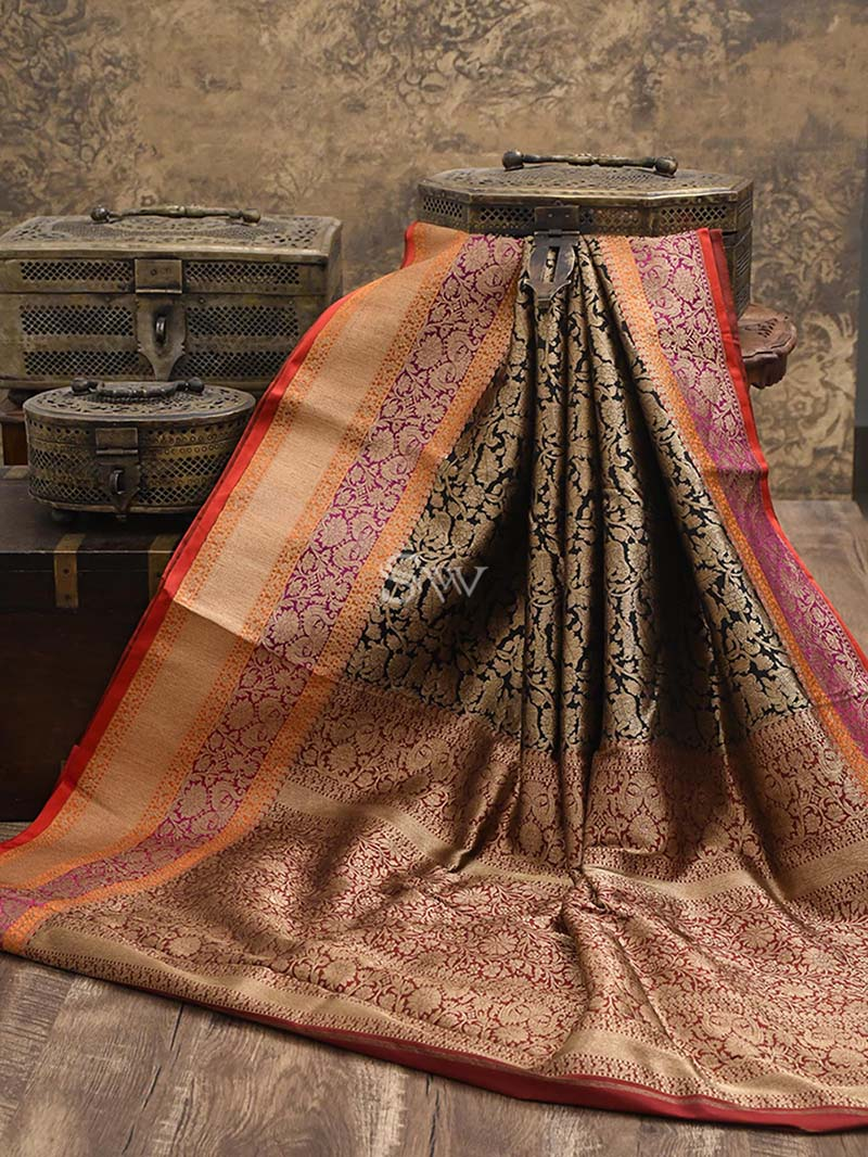 Black Katan Silk Brocade Handloom Banarasi Saree - Sacred Weaves
