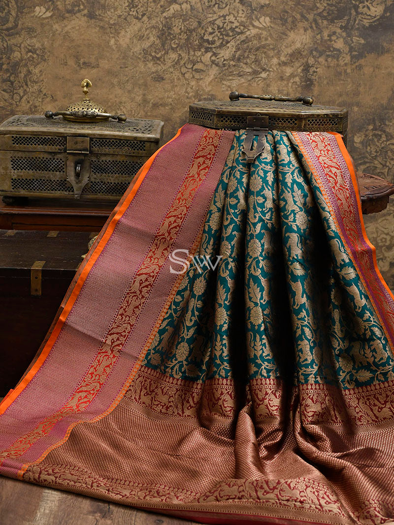 Teal Green Katan Silk Shikargah Handloom Banarasi Saree - Sacred Weaves
