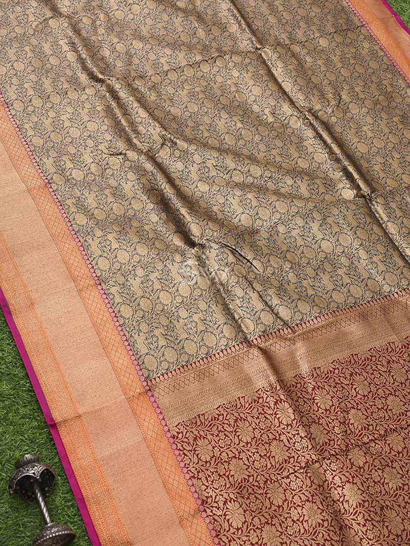 Grey Katan Silk Brocade Handloom Banarasi Saree - Sacred Weaves