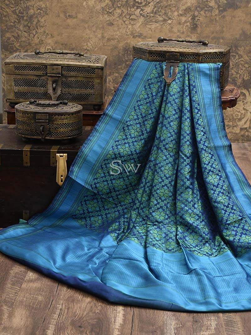 Blue-Green Tanchoi Silk Handloom Banarasi Saree - Sacred Weaves