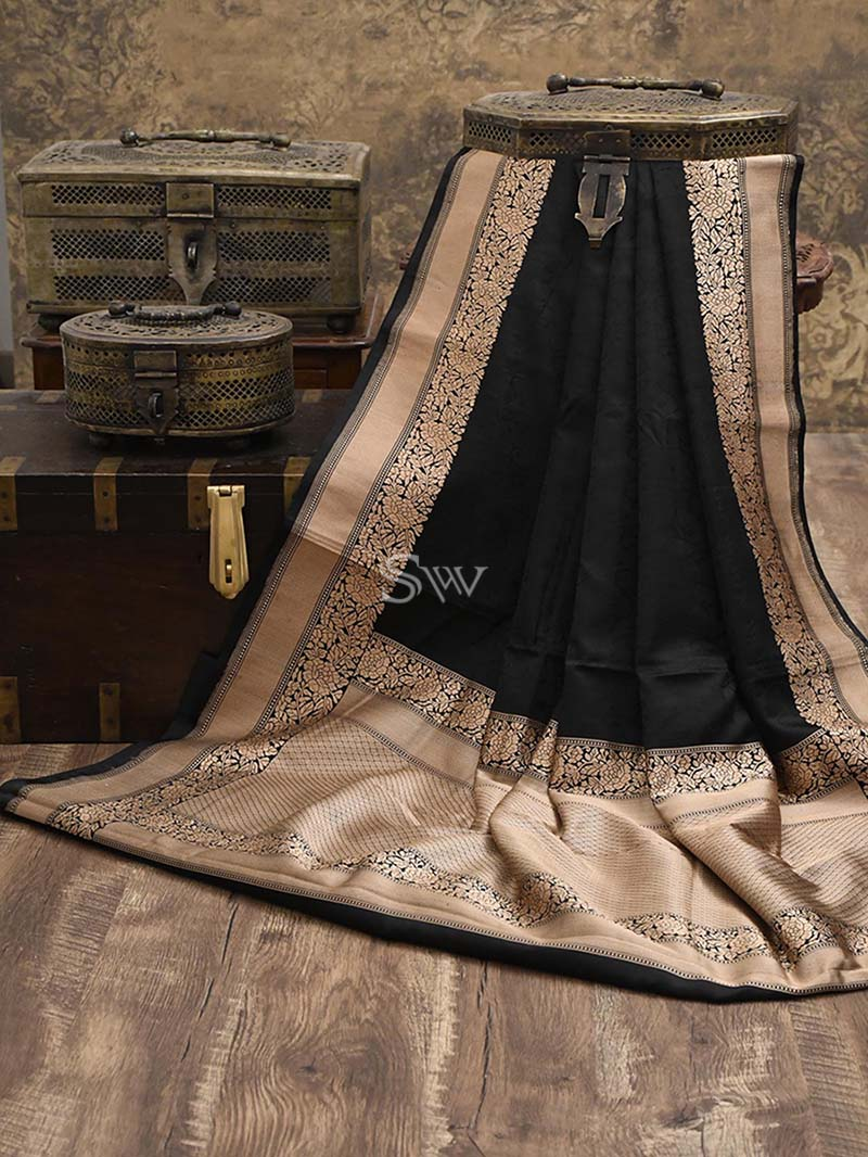 Black Tanchoi Silk Handloom Banarasi Saree - Sacred Weaves