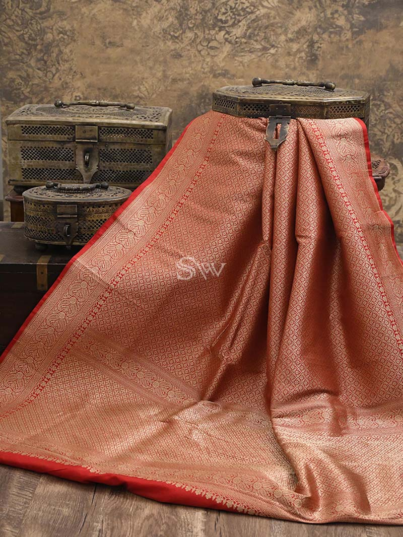 Red Katan Silk Brocade Handloom Banarasi Saree - Sacred Weaves