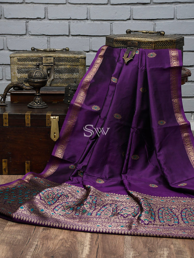 Dark Purple Meenakari Katan Silk Handloom Banarasi Saree - Sacred Weaves