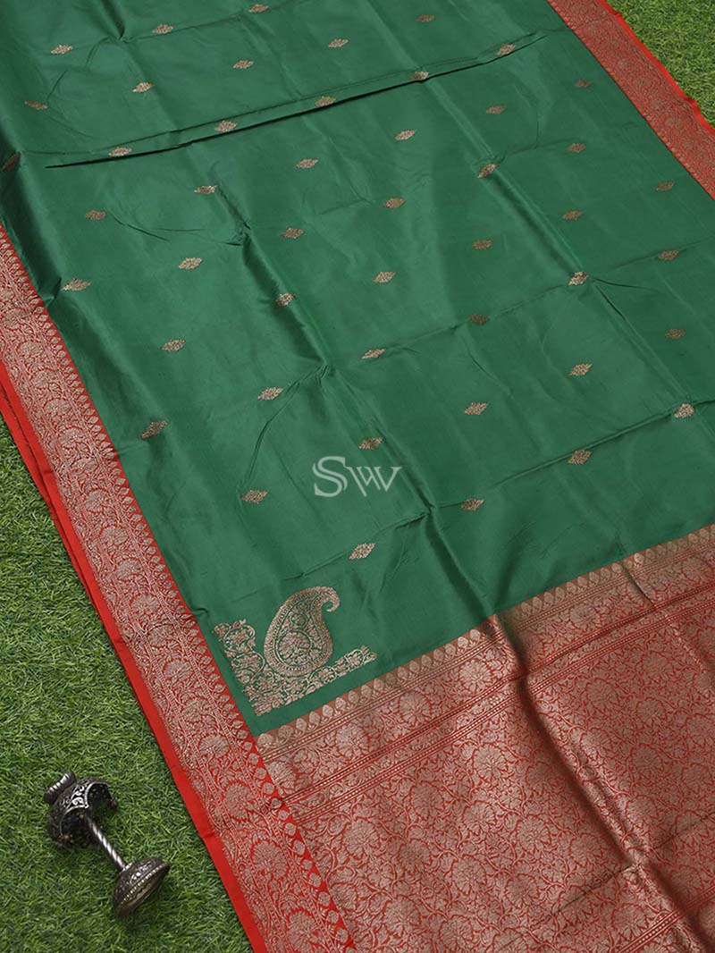 Bottle Green Katan Silk Handloom Banarasi Saree - Sacred Weaves