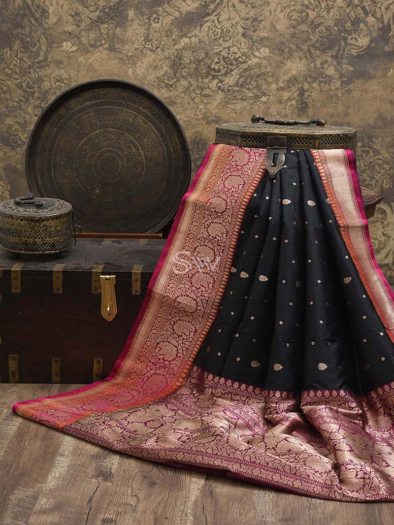 Black Katan Silk Handloom Banarasi Saree - Sacred Weaves
